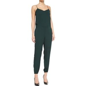 Theory dark green silk Stassia jumpsuit